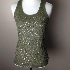 Michael Kors Olive Green Sequin Tank Top.